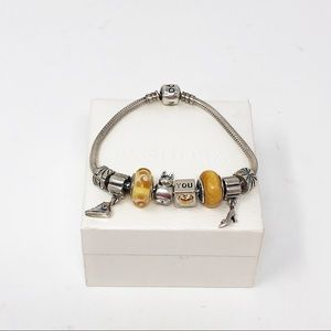 925 Sterling Silver Pandora Bracelet With Charms